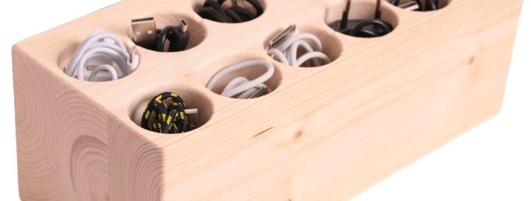 Der Kabelsortierer - der elegante Organizer aus Holz zum Aufbewahren von Kabeln