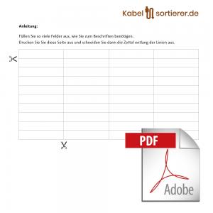 Dateivorlage im Pdf-Format für Kabelsortierer mit Beschriftung