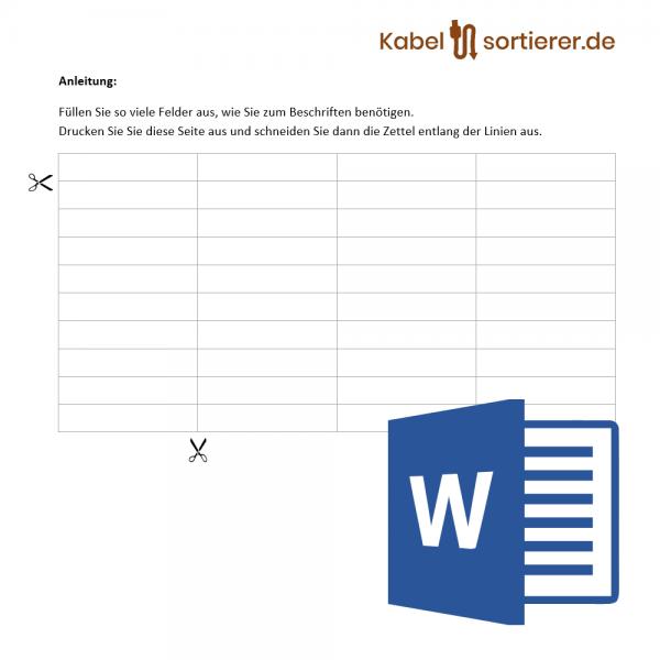 Kabelsortierer-Dateivorlage im Word-Format für Kabelsortierer mit Beschriftungsmöglichkeit